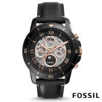 FOSSIL 富鼎霸氣日月鏤空透底 機械皮革腕錶(ME3138)-鏤空透底x玫瑰金錶盤/44mm