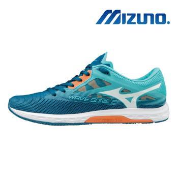 【MIZUNO 美津濃】WAVE SONIC 2 女馬拉松鞋 湖水藍 U1GD193501