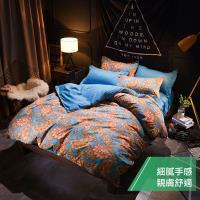 eyah 宜雅 台灣製時尚品味100%超細雲絲絨雙人床包枕套3件組-安娜皇妃