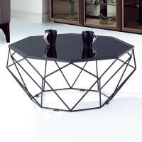 Boden-瑞莎2.7尺黑色造型玻璃大茶几