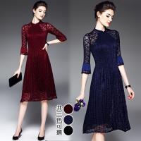 K.W.韓國 F 歐風女神典雅雪紡壓褶洋裝