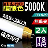 《Kiss Quiet》 黄金戰士(護眼白5000K)-億光燈珠CNS認證 4尺/4呎T8 LED燈管-2入