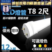 《Kiss Quiest》 億光燈珠CNS認證(白光/黄光/自然光)T8 12W亮度 2尺/2呎 LED燈管-12入