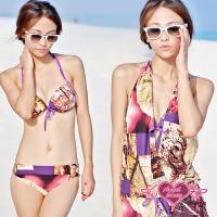 天使霓裳 泳衣 彩豔向陽 三件式比基尼泳裝(紫L.XL) BB13032