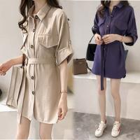 韓國K.W.  XL~3XL 閨蜜修身氣質素色外套洋裝二用款