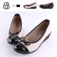 【88%】包鞋-舒適乳膠鞋墊 跟高5CM 皮質拼接亮皮 楔型鞋 包鞋 娃娃鞋MIT台灣製