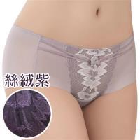 思薇爾 撩波羽晶伶系列M-XL蕾絲中低腰平口內褲(絲絨紫)