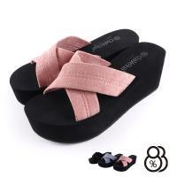 【88%】拖鞋-交叉絨布鞋面 厚底6.5cm 純色簡約 楔形拖鞋 楔型鞋 涼拖鞋