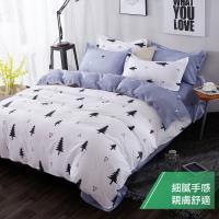 eyah 宜雅 台灣製時尚品味100%超細雲絲絨雙人特大床包枕套3件組-雪國森林