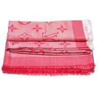 LV M71385經典Beyond Monogram系列雙色Monogram織花羊毛混絲披巾/圍巾(紫紅色)