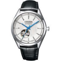 CITIZEN 星辰 時尚鏤空機械腕錶 NH9111-11A 銀x黑皮