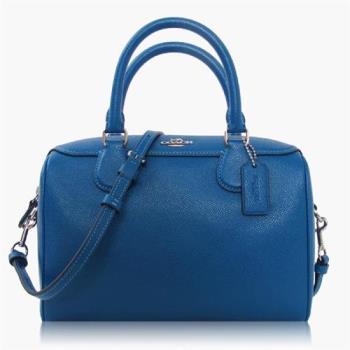 COACH 十字紋皮革 / 小款 / 手提兩用波士頓包 寶藍