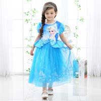 麗莎熊 LisaBear 冰雪奇緣Elsa艾莎公主 夏季純棉四層紗裙腰部荷葉澎袖小洋裝 兒童表演服裝 特殊造型服裝