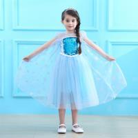 麗莎熊 LisaBear 冰雪奇緣Elsa艾莎女王夏季超唯美亮片雪花短袖披風洋裝 五層裙擺 童裝兒童小洋裝 表演服裝