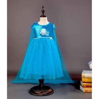 麗莎熊 LisaBear 冰雪奇緣Elsa艾莎公主 夏季純棉全亮片短袖披風小洋裝 兒童表演服裝 特殊造型服裝