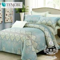 AGAPE亞加‧貝 獨家私花-河畔情緣 天絲 雙人加大6尺八件式鋪棉兩用被床罩組