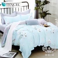 AGAPE亞加‧貝 獨家私花-蘭心 天絲 雙人特大6x7尺八件式鋪棉兩用被床罩組