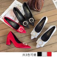 Alice (預購) 尖頭淺口方扣粗跟高跟鞋