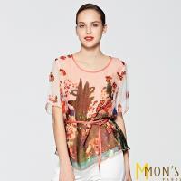 MONS國際精品藝術風印花輕柔感100%蠶絲上衣