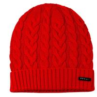 【agnes b.】時尚麻花編織 針織毛帽(紅色)