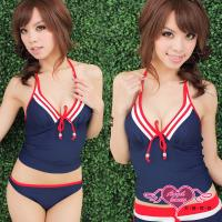 天使霓裳 泳衣 無限魅力運動款 鋼圈三件式比基尼泳裝(藍M~XL) SQ11065