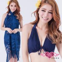 天使霓裳 泳衣 典雅夜色 三件式鋼圈比基尼泳裝(深藍M~XL) YPD8350