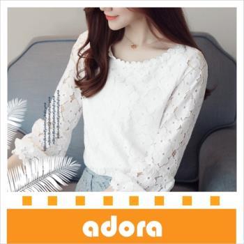 adora 韓版氣質修身燈籠袖蕾絲百搭蕾絲打底衫