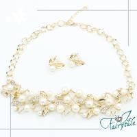 【伊飾童話】珍珠葉片*奢華水鑽項鍊耳環二件套組/金