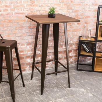 Bernice-加登2尺工業風實木鐵腳高吧台桌