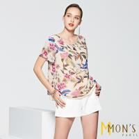MONS歐式印花飄逸造型印花上衣