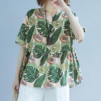 韓國K.W. 柔美顯瘦印花短袖休閒T恤