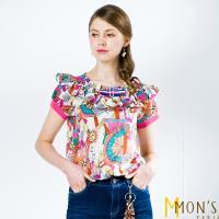 MONS歐洲專櫃藝術風印花荷葉領上衣