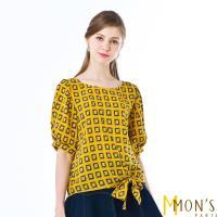 MONS皇室名媛風範造型格紋上衣