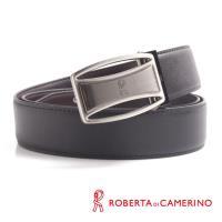 【ROBERTA 諾貝達】雙弧鏤空造型皮帶-牛皮製(鎗色)