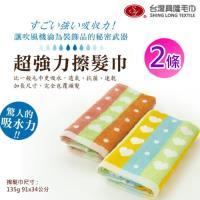台灣興隆毛巾製 前漂色紗纖維超強力擦髮巾-樂芙款 (2條組)