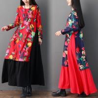 【REKO】民族風復古印花圓領洋裝M-2XL(共兩色)