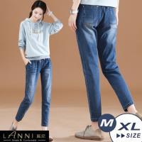 LANNI 藍尼-現+預 經典刷白抽繩鬆緊九分牛仔褲 M-XL