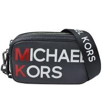 【Michael Kors】品牌字母標誌 防刮皮革雙層拉鍊相機包(黑色)
