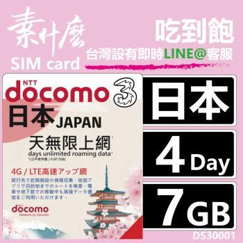 (素什麼) 沒話術 日本第一網卡 最強版4G上網 4天7GB保證夠流量 +附加吃到飽功能 日本網卡 日本SIM卡