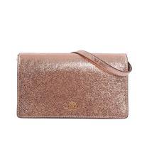 COACH 軟牛皮皮夾式二用手拿/斜背包(粉金色)