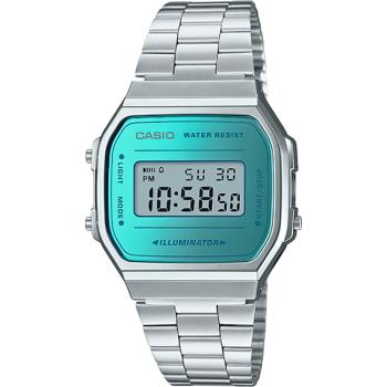 CASIO 經典復刻造型不鏽鋼電子錶-銀X藍綠(A168WEM-2D)