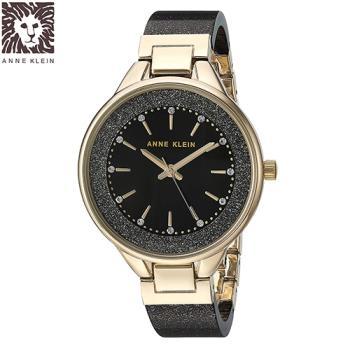 Anne Klein 紐約時尚流沙黑金玻麗腕錶-黑色x32mm (AK-1408BKBK)