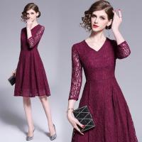 【M2M】貴氣紫色蕾絲緹花洋裝M-2XL