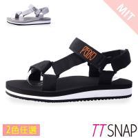 TTSNAP涼拖鞋-MIT寬版織帶足弓輕巧涼拖鞋 黑/灰