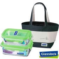 Glasslock強化玻璃微波保鮮盒-綠色便當袋3件組