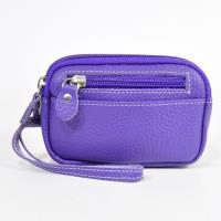 Miyo進口牛皮雙拉零錢包(紫羅藍色)