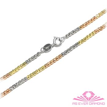 【AS EVER DIAMOND】義大利14K金項鍊 高級花式鍊子饗宴 切割面三色項鍊