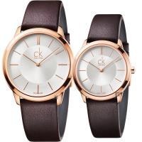 Calvin Klein CK Minimal 極簡情侶手錶 對錶-玫瑰金框x咖啡/40+35mm K3M216G6+K3M226G6