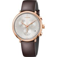Calvin Klein CK High Noon 計時手錶-玫瑰金框x咖啡/43mm K8M276G6