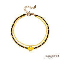 Jcode真愛密碼 真愛-幸運草黃金小香編織手鍊-雙鍊款